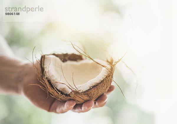 Anschnitt,Mann,halten,Close-up,Kokosnuss