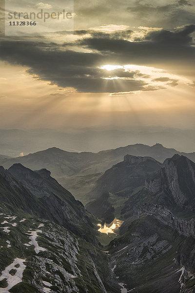 Abenddämmerung,Alpen,Alpstein,Appenzell,Dämmerung,Europa
