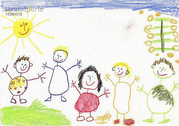 Kinderzeichnung, glückliche Familie