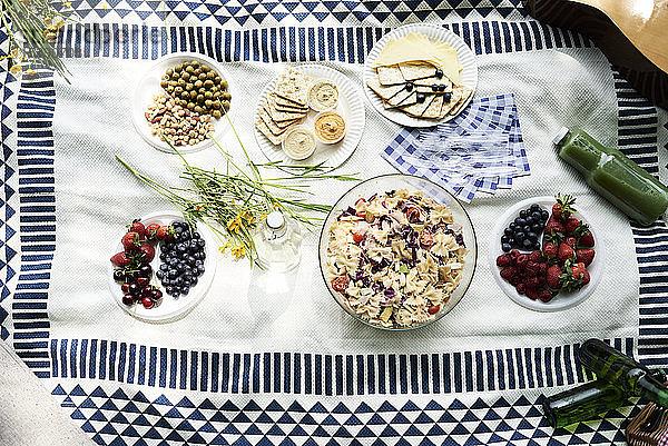 Draufsicht auf gesunde Picknick-Snacks auf einer Decke